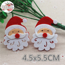 4.5CM 10pcs Non-woven patches Father Christmas Felt Appliques for clothes Sewing Supplies diy craft ornament