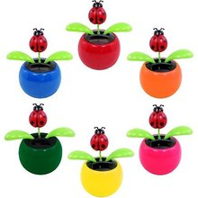 LeadingStar Solar Powered Dancing Lady Bug Flower Great as Gift Random Color Hot Selling zk15(China)