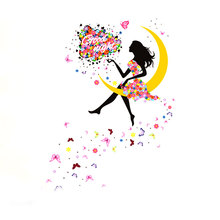 Hot Colorful PVC Home Decoration Accessories Flower Fairy Moon Girl Bedroom Wall background Wall Decor Romantic Decorative Glass