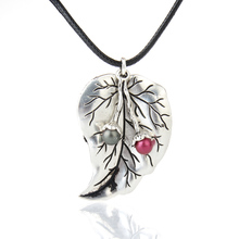 Seanuo Personality tree leaf shape leather necklace for women fashion punk ancient silver red bead chunky men choker necklaces(China)