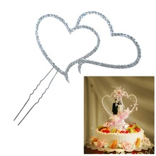 Fashion Delicate Style Brand Romantic Crystal Rhinestone Silver Double Heart Cake Topper Wedding Decoration