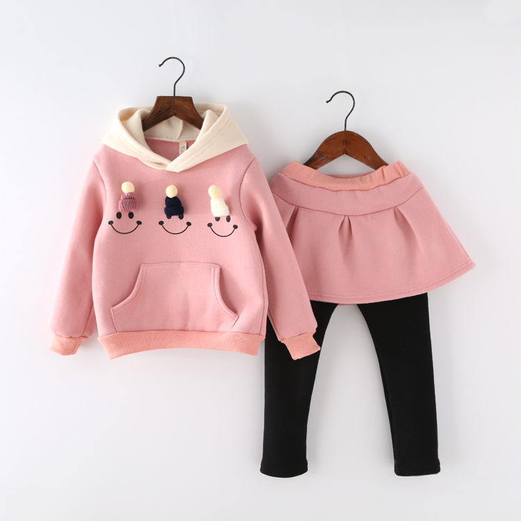 Fashion girls outfits fall winter cotton blended skirted pant and sweater set for korean kids clothes suit<br><br>Aliexpress
