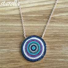 Starella Rose Gold Color 925 Sterling Silver Full Micro Pave CZ and Nano Turquoesa Turkish Evil Eye Round Pendant Necklace