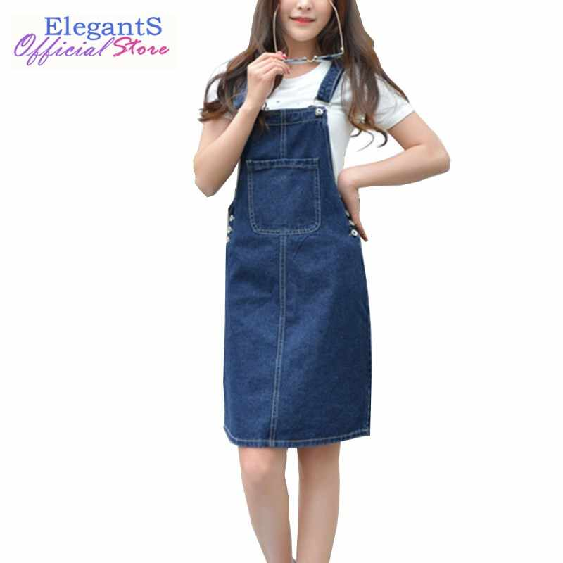 Summer Women Suspender Denim Dress Sleeveless Casual Sundress Loose  Overalls Female Adjustable Strap Jean Dress Plus bf0ed955de41