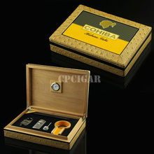 Cohiba leather cigar storage box set gift  with cigar cutter, cigar lighter, cigar ashtray, humidifier for travel smoking