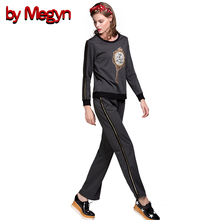 Autumn Winter Designer Brand Women Set Suits High Quality Short Sleeve Crystal Beading Top + Long Pants Casual Twinset DG153(China)
