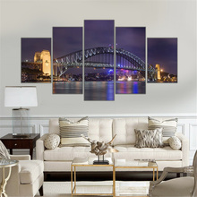 No Frame Canvas Painting Harbour Bridge Sydney Scenery Picture Night View Art Work for Living Room Modern Home Decoration 5pcs