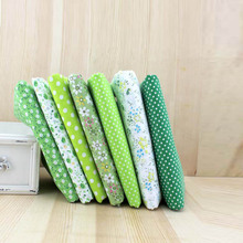2017 7pcs 100% Cotton Tissues Felt Fabric Green Color Fabric DIY Quilting Sewing Cloth Crafts Materials Tissue Size 25x25cm