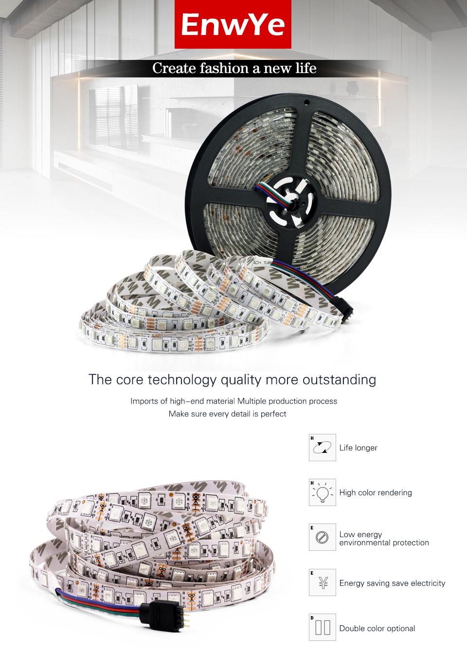 EnwYe 5M 300Leds waterproof RGB Led Strip Light 3528 5050 DC12V 60LedsM Fiexble Light Led Ribbon Tape Home Decoration Lamp_01