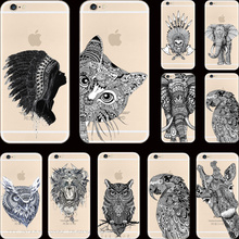 6/6S Indian Styles Painting Fierce Elephant Giraffe Silicon Phone Shell Cases For Apple iPhone 6 6S 4.7'' Case Cover Best Choose