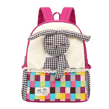 New Fashion Backpack Canvas Cute Baby Girls Kids Rabbit Pattern Plaid Animals Backpack Casual Toddler School Bag Rucksacks(China)