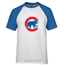 Chicago Cubs MENS World Series Champions T Shirt Mens Casual Loose raglan Sleeve Bear T-Shirt Top Tees ringer Tee(China)