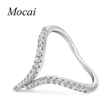 Mochai Simple Design AAA Cubic Zirconia V Shape Small Finger Arrow Rings Gold-Color Pinky Ring Brand Jewelry Women Love ZK30(China)
