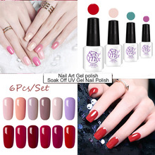 sexy mix 7ml 2017 new color chart soak off uv nail gel polish 6 pcs set long lasting 3d nail art painting gel varnishes kits(China)