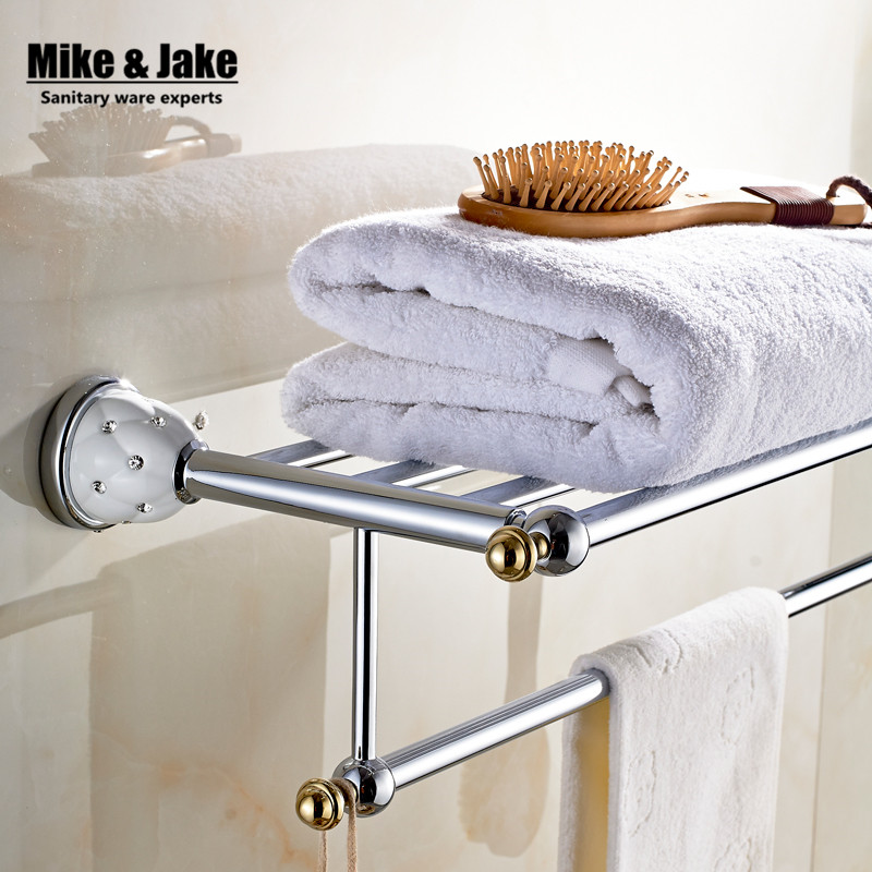 New arrival Towel Racks Luxury Bathroom Accesserries High Quality Golden Finish Bath Towel Shelves Towel Bar MC67212<br>
