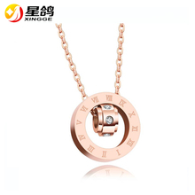 Stainless Steel Pendant Necklace For Women 2017 New Arrivals Zircon Rome Digital Necklace & Pendants High-quality Jewelry(China)