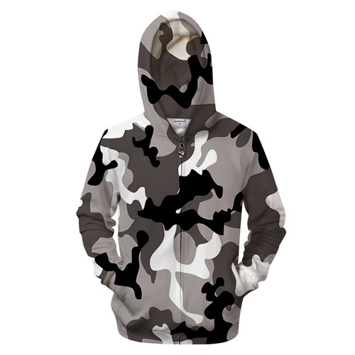 Grey Camo 3D Zip Hoodies Men S Clothing Women Sweatshirt Zipper Tracksuit Groot Hoody Hooded Coat Pullover Dropship ZOOTOPBEAR 4