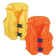 Thick PVC Inflatable Life Jacket Swimsuit Swim Vest Kids Baby Swimming Vest Clothing Orange and Yellow