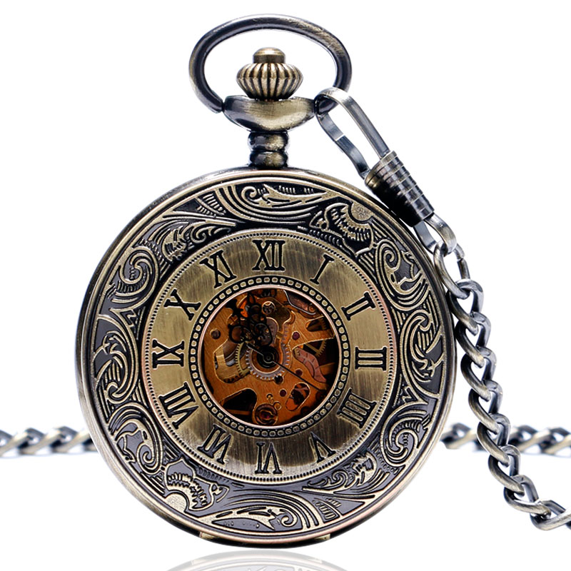 Vintage Roman Number Pocket Watch double full hunter Design Pendant Watches Mechanical for Men   Women Gift P822C<br><br>Aliexpress