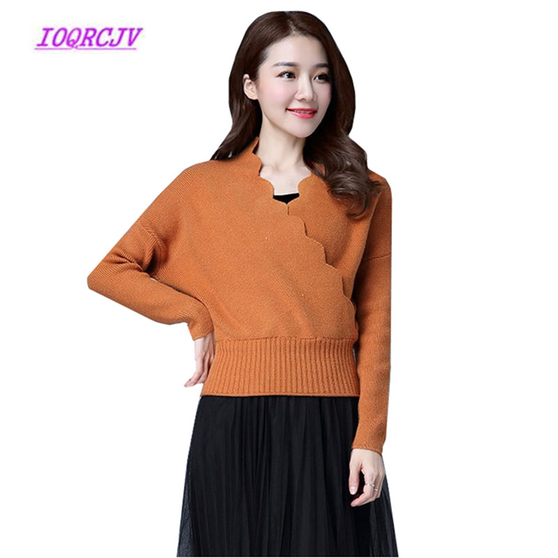 Korean Lace V neck top 7 Colors Loose Throw Women's Sweater Autumn Knit sweater Bat sleeve Pullover Blouse Sweater Women Tops