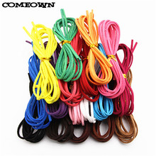 COMEOWN 10Pcs 3X1.5mm Black/White/Brown Flat Faux Suede Leather Cord String Rope Lace Beading Thread DIY Jewelry Findings Cords