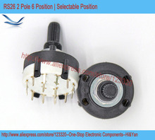 5pcs/lot RS26 2P6T Band Switch Band Channel Rotary Selector Switch 2 Pole 6 Position Selectable Position(China)
