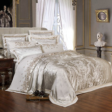 Sliver Golden Luxury Satin Jacquard bedding sets Embroidery bed set double queen king size duvet cover bed sheet set pillowcase(China)