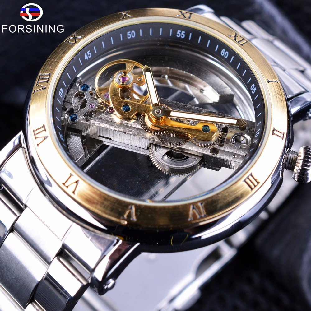 Forsining 2017 Minimalist Design Transparent Case Roman Number Steel Mens Automatic Skeleton Steampunk Watches Top Brand Luxury<br>