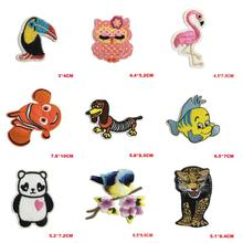 Cute Carton Animal Patch Bird Tiger Parches Iron on Cheap Embroidered Diy Patches for Clothes Flowers Badges Jeans Applique(China)