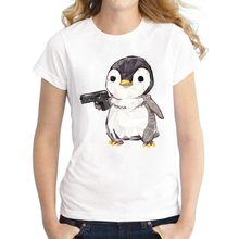 2016 Newest Short Sleeve Women T-shirt Fashion Cubic penguin power Design lady Tops Diamond Penguin Shoot Printed Noverlty Tee(China)