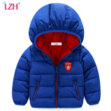 LZH Baby Boys Jacket 2017 Winter Jacket For Girls Jacket Kids Warm Hooded Pure Color Infant Boys Coat Children Outerwear Clothes
