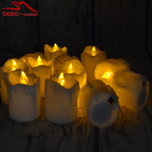 Yellow Flickering White LED Tealight Candle Set of 12 with Battery Included for Wedding Christmas New Year Gift Decoration(China)
