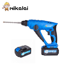 NIKALAI 21V 3.0Ah Rechargeable Lithium Battery Rotary Hammer Power Tool Cordless Hammer Drill Electric screwdriver(China)