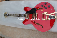 Custom red ES-335 semi-hollow double f holes JAZZ electric guitar with black pickguard,gold hardware,big bridge,can be changed