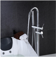 Free shipping Free Standing Bathtub Floor Mounted Faucet Tap Set & Hand Shower Bath Spout 003(China)