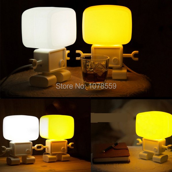 Free Shipping new style LED table lamp LED Intelligent Robot Voice Light Control Desk Table Lamp Night Bedside Light<br>