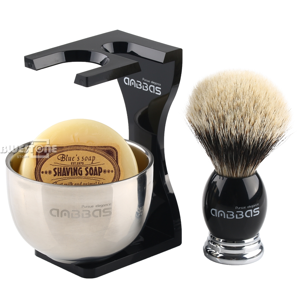 Anbbas Badger Hair Barber Shaving Brush Black Acrylic Stand + Bowl and Soap<br>
