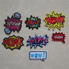 brand new high quality WOW word fashion style hot melt adhesive applique embroidery patches stripes DIY clothing accessory