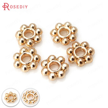 20PCS 4MM 6MM 7MM 24K Champagne Gold Color Plated Brass Bracelets Flower Spacer Beads High Quality Diy Jewelry Accessories(China)