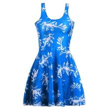 New Design Blue Sexy Women Tennis Sports Pleated Dress Vogue Slim Elastic Sleeveless Lady Skater Dresses Party Sports Dress S-XL