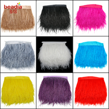 10Meters/lot 8-10cm White colors Ostrich Feather Plumes Fringe trim Feather Boa Stripe for Party Clothing Accessories Craft(China)