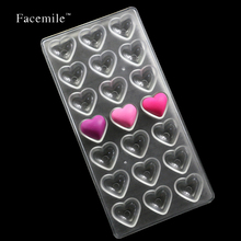 Loving Heart Shaped Candy Molds Polycarbonate Chocolate Mold Tray Pudding Mould Plastic Chocolate Tools 54010 Gift(China)
