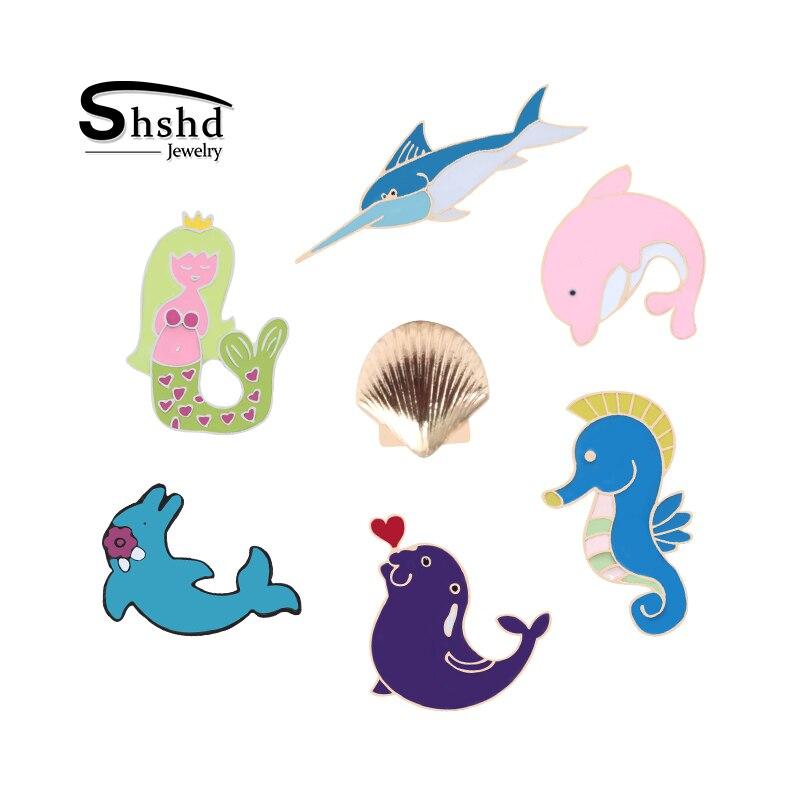 Whale Enamel Pin Cute Sea Ocean Animal Fish Dolphin Shark Mermaid Blue Whale Lapel Pin for Jacket Backpack Bag
