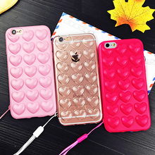 Cute Candy Peach Heart Jelly Case For iphone 6 Case For iphone 6S 6 Plus Phone Cases Korean Soft Silicone TPU Love Phone Cases(China)