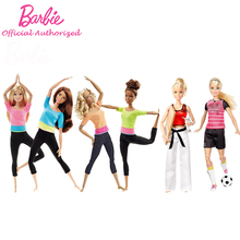 Barbie Authorize Brand 7 Style Fashion Dolls Yoga Model Toy For Little Girl Birthday Gift Barbie Girl Boneca Model DHL81(China)