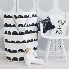 INS popular large toy storage bag , half moon modern style storage bag can stand Children's room canvas STORAGE BAG