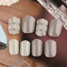 24Pcs New Fashion French 3D Matte Art Fake Short False Nails Full Tips Sticker With Glue