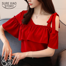 Buy 2018 new spring short sleeved blouses solid sexy style lady ruffles women clothing red women tops sweet female shirts D564 30 for $11.25 in AliExpress store