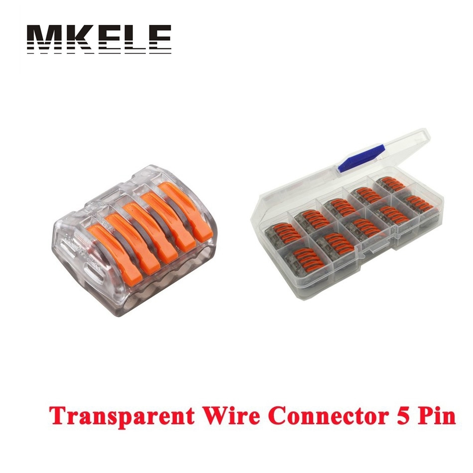 Hot Sale Wago 10pcs Transparent Universal Fast Wire Wiring Connector 5 Pin Mini Conductors Terminal Block 32A Findings China<br><br>Aliexpress