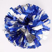 One Pair Blue & Silver Metallic Dallas Cowboys Cheerleader Pom Poms Hole Handle